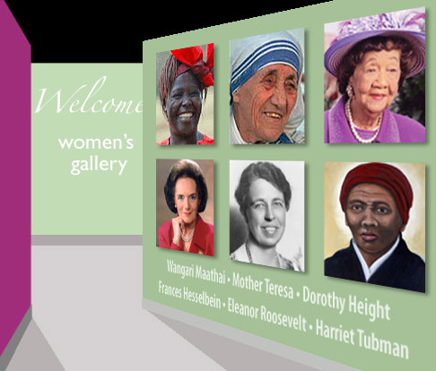 an image of the entrance to the Women in the Lead Women's Gallery with photos of Dorothy Height, Mother Teresa and others on the wall